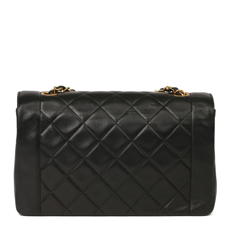 Women's 2003 Chanel Black Quilted Lambskin Medium Diana Classic Single Flap Bag