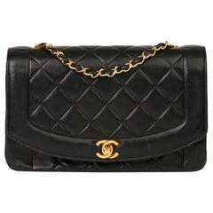 2003 Chanel Black Quilted Lambskin Medium Diana Classic Single Flap Bag