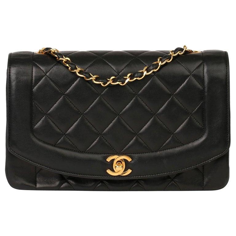 2003 Chanel Black Quilted Lambskin Medium Diana Classic Single Flap Bag