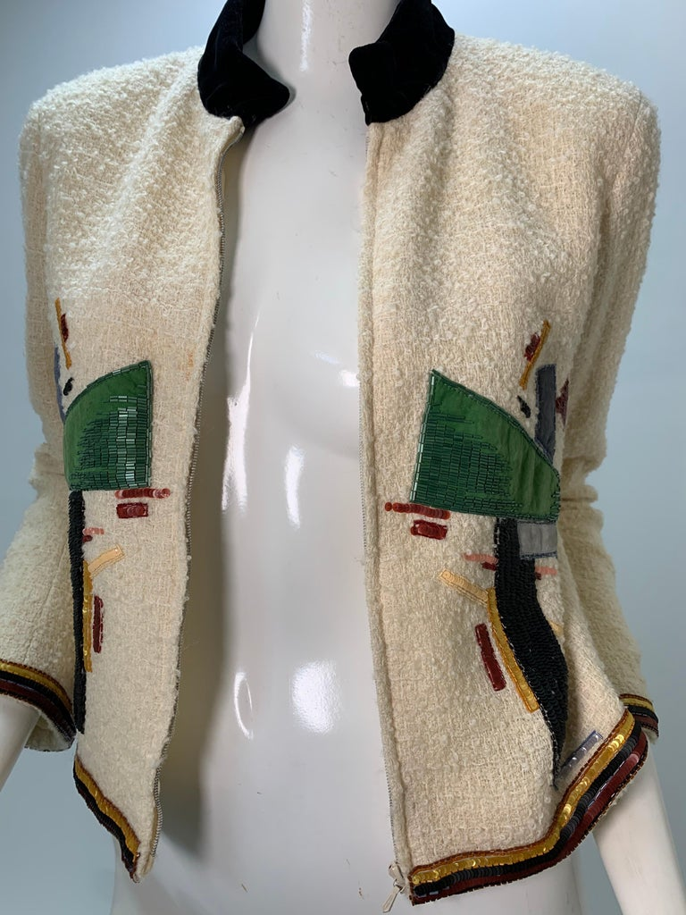 2003 Chanel Cream Wool Boucle Cropped Zip Front Jacket W /Patchwork Beading  6