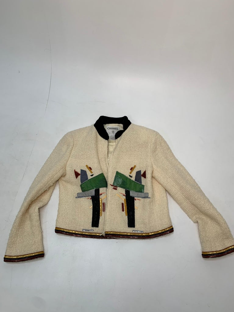 2003 Chanel Cream Wool Boucle Cropped Zip Front Jacket W /Patchwork Beading  7