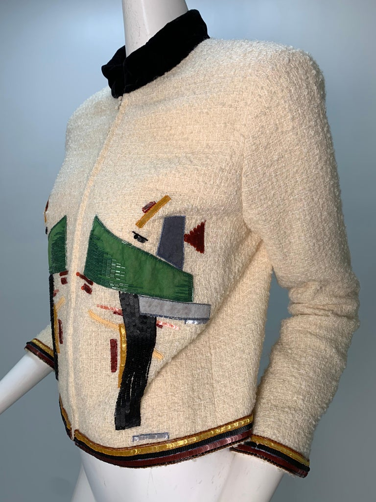2003 Chanel Cream Wool Boucle Cropped Zip Front Jacket W /Patchwork Beading  1