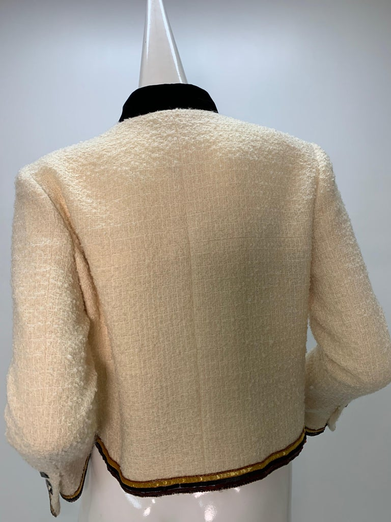 2003 Chanel Cream Wool Boucle Cropped Zip Front Jacket W /Patchwork Beading  3
