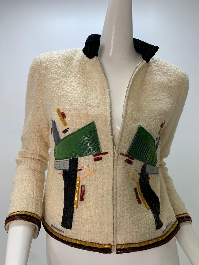 2003 Chanel Cream Wool Boucle Cropped Zip Front Jacket W /Patchwork Beading  4
