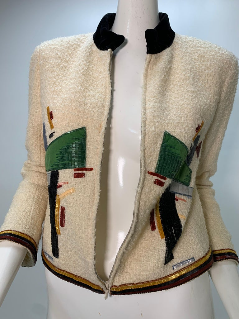 2003 Chanel Cream Wool Boucle Cropped Zip Front Jacket W /Patchwork Beading  5