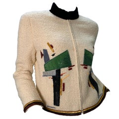 2003 Chanel Cream Wool Boucle Cropped Zip Front Jacket W /Patchwork Beading