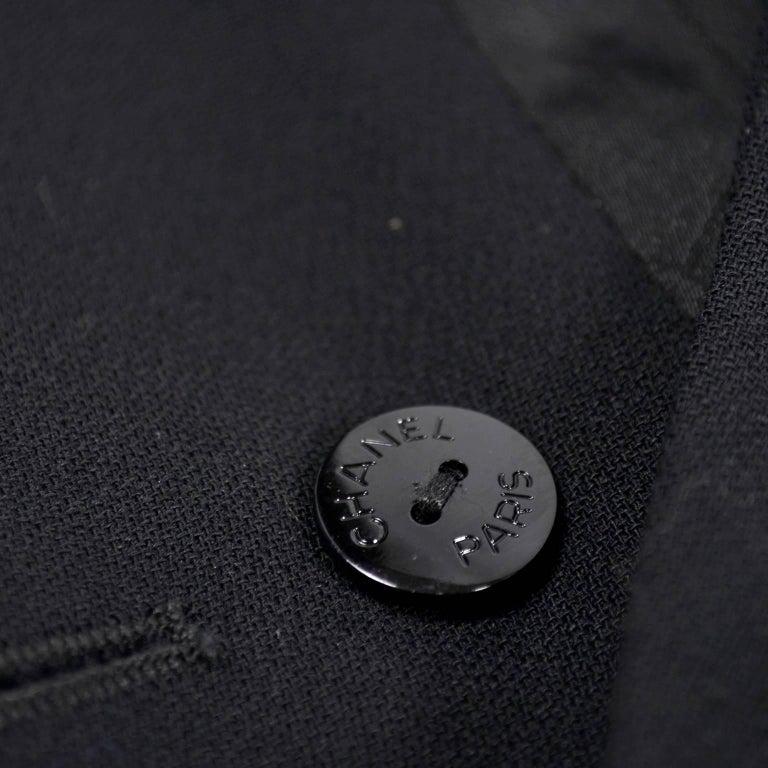 2003 Chanel Jacket Black Wool Blazer W Satin Stripes in Size 38 For Sale 8