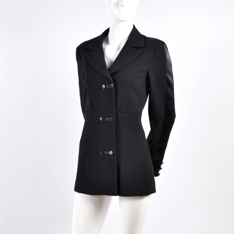 2003 Chanel Jacket Black Wool Blazer W Satin Stripes in Size 38 For Sale 12