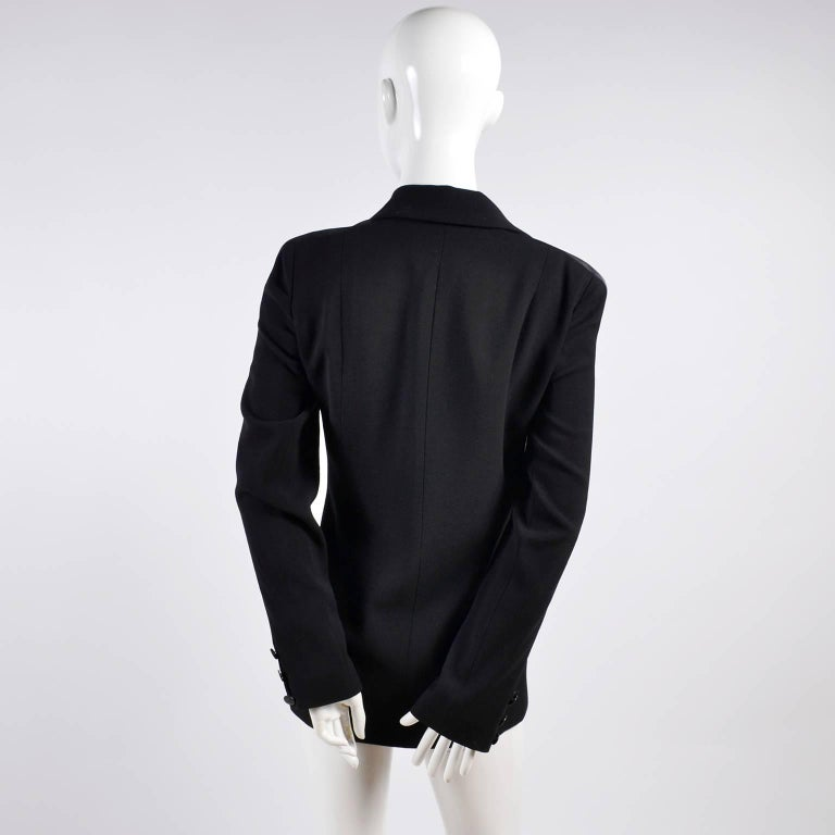 2003 Chanel Jacket Black Wool Blazer W Satin Stripes in Size 38 In Excellent Condition For Sale In Portland, OR