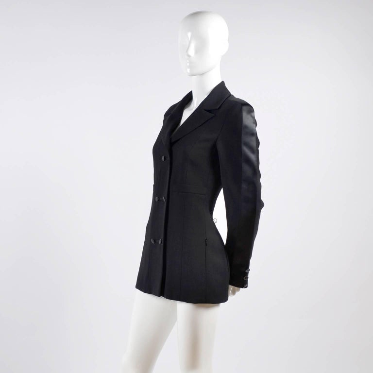 Women's 2003 Chanel Jacket Black Wool Blazer W Satin Stripes in Size 38 For Sale