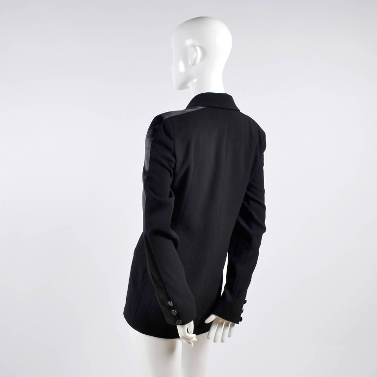 2003 Chanel Jacket Black Wool Blazer W Satin Stripes in Size 38 For Sale 1
