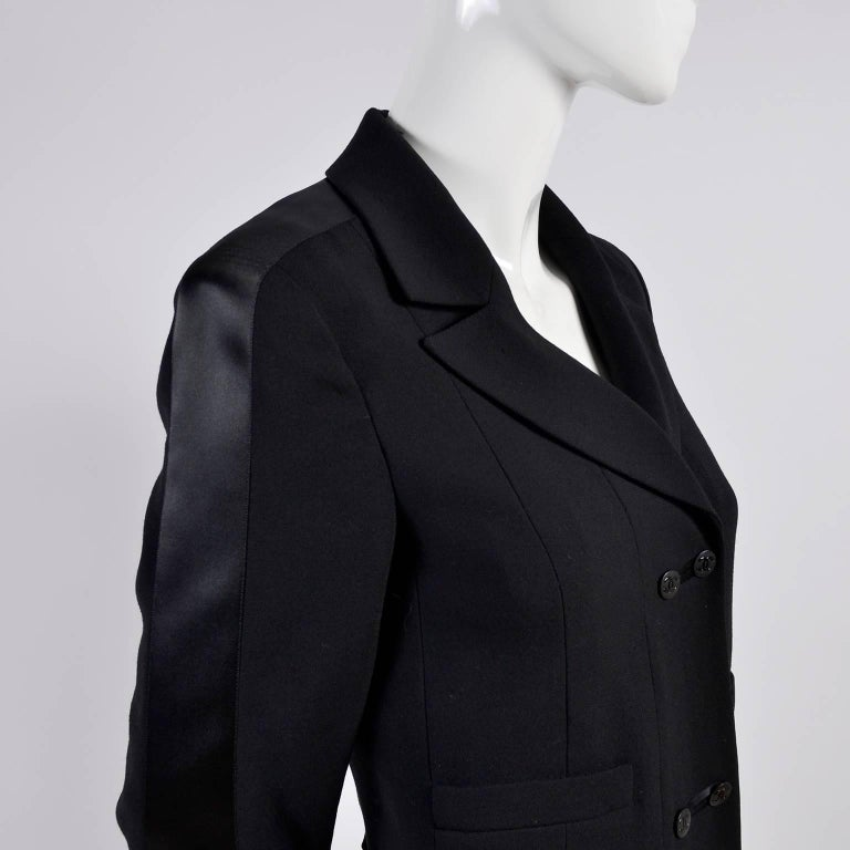 2003 Chanel Jacket Black Wool Blazer W Satin Stripes in Size 38 For Sale 2