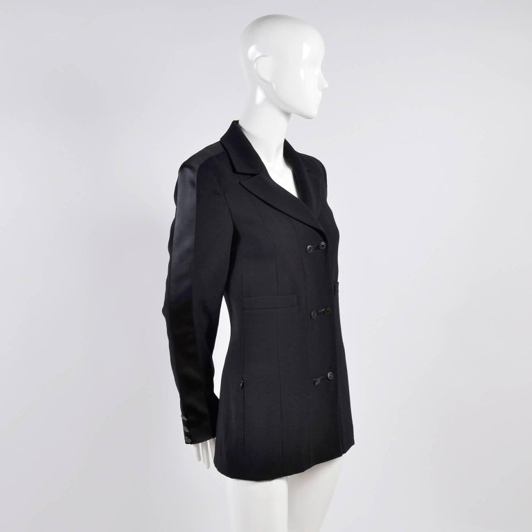 2003 Chanel Jacket Black Wool Blazer W Satin Stripes in Size 38 For Sale 3