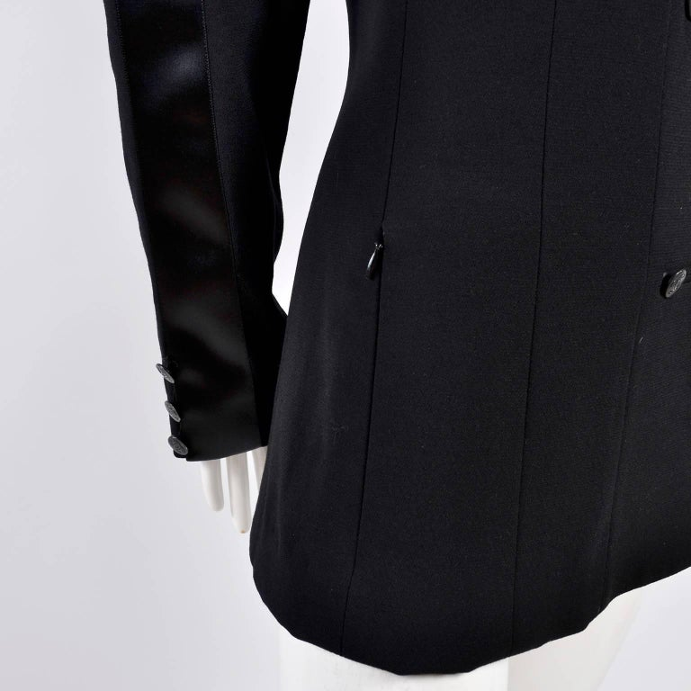 2003 Chanel Jacket Black Wool Blazer W Satin Stripes in Size 38 For Sale 4