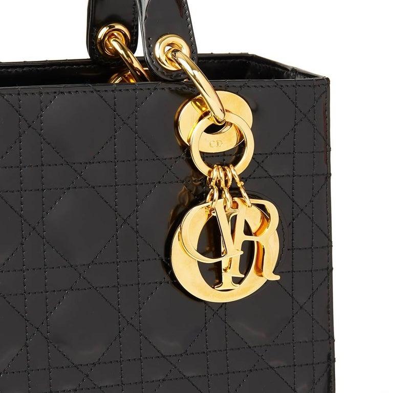 1b8c28c50d 2003 Christian Dior Black Quilted Glazed Calfskin Leather Medium Lady Dior  For Sale 1