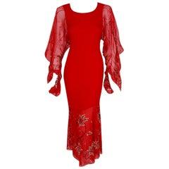 2003 Christian Dior Haute-Couture Red Beaded Silk Chiffon Kimono Sleeve Dress