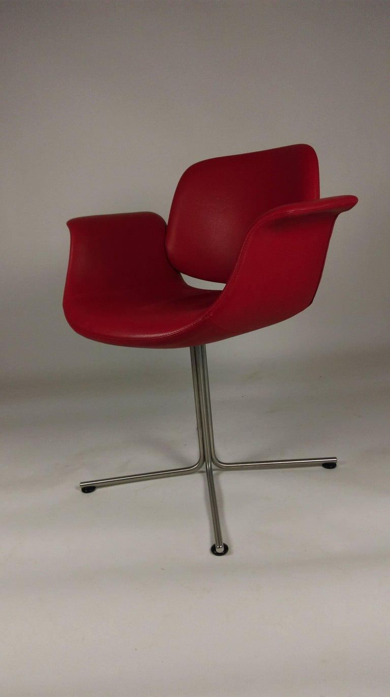Minimalist 2003 Foersom and Hjorth-Lorenzen Flamingo Armchair in Red Leather For Sale