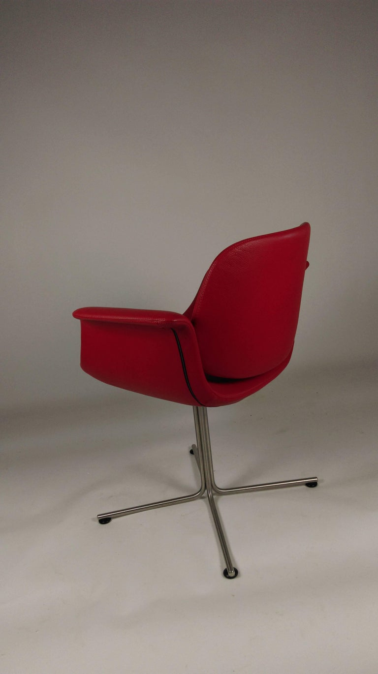 2003 Foersom and Hjorth-Lorenzen Flamingo Armchair in Red Leather In Good Condition For Sale In Knebel, DK