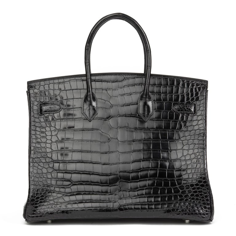 2003 Hermes Black Shiny Porosus Crocodile Leather Birkin 35cm In Excellent Condition In Bishop's Stortford, Hertfordshire