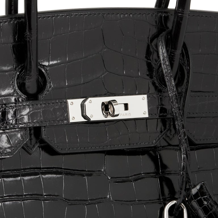 2003 Hermes Black Shiny Porosus Crocodile Leather Birkin 35cm 1