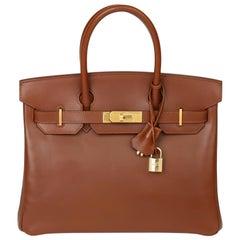 2003 Hermes Fauve Box Calf Leather & Parchemin Verso Birkin 30cm
