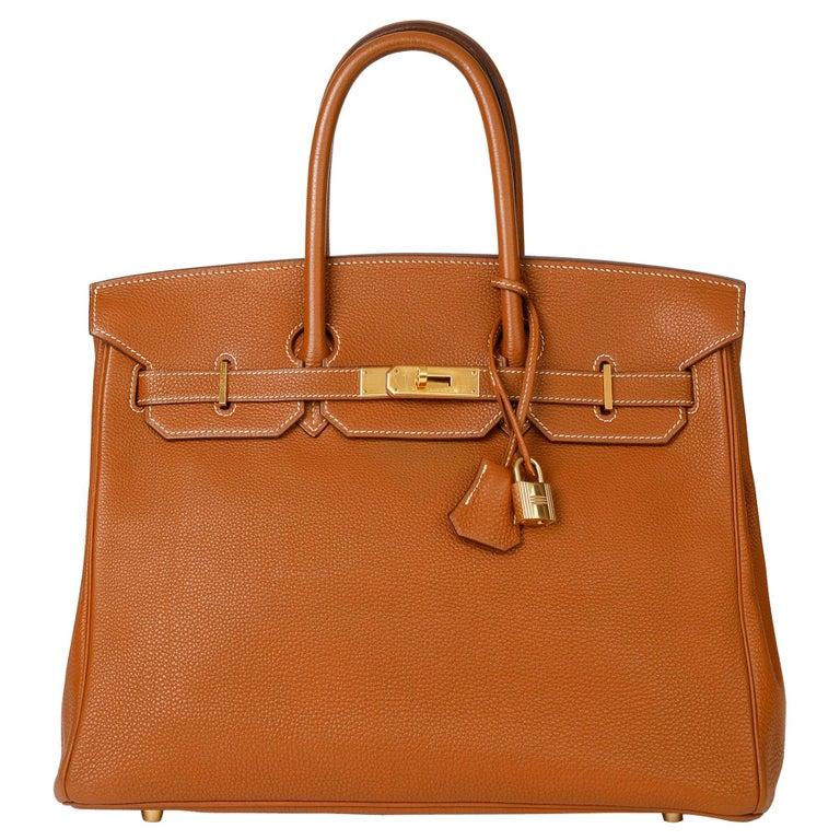 2003 Hermes Gold Togo Leather Birkin 35cm For Sale