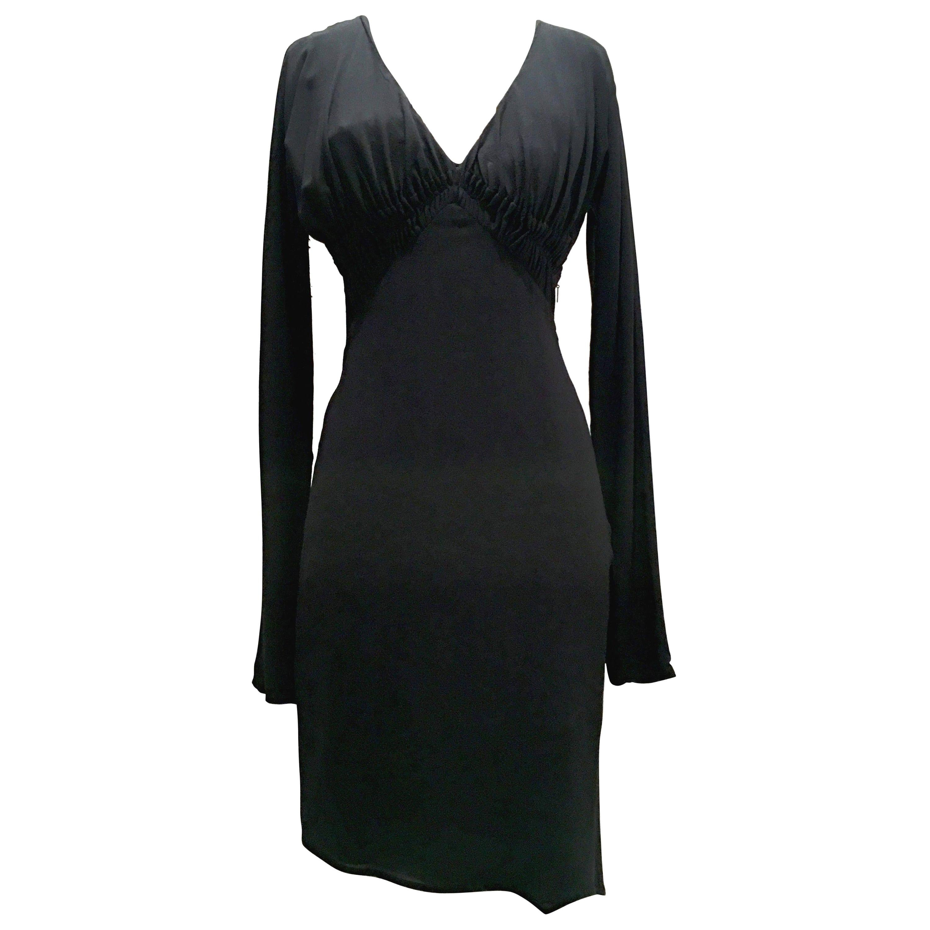 2003 Italian Silk Long Sleeve Deep Plunge Black Dress By Tom Ford For Gucci-42