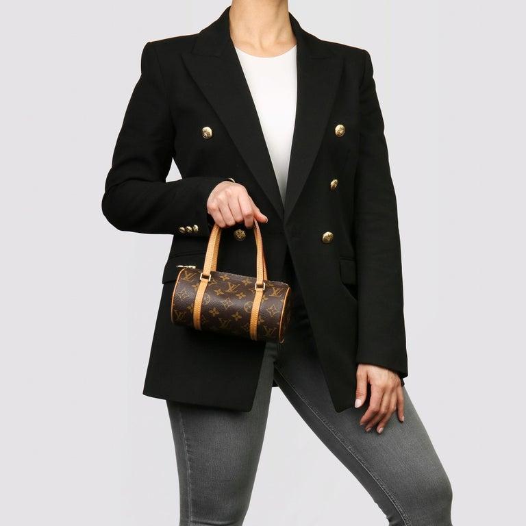 2003 Louis Vuitton Brown Monogram Coated Canvas & Leather Mini Papillion For Sale 6