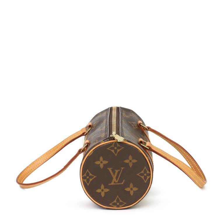 LOUIS VUITTON Brown Monogram Coated Canvas & Vachetta Leather Mini Papillion  Xupes Reference: HB3845 Serial Number: DU0023  Age (Circa): 2003 Authenticity Details: Date Stamp (Made in France)  Gender: Ladies Type: Tote  Colour: Brown Hardware: