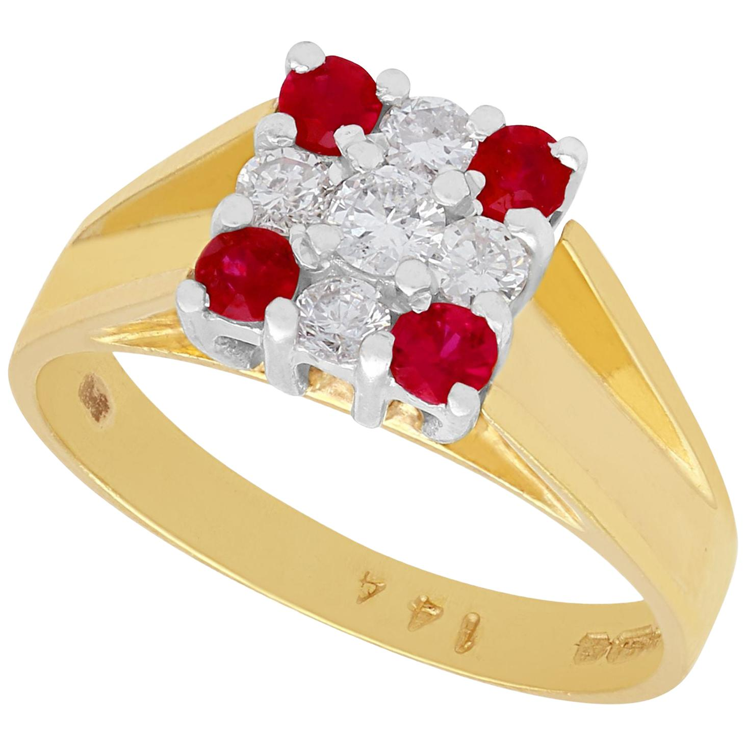 2003 Ruby and Diamond Yellow Gold Cocktail Ring
