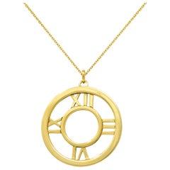 2003 Tiffany & Co. 18 Karat Gold Circular Atlas Pendant Necklace