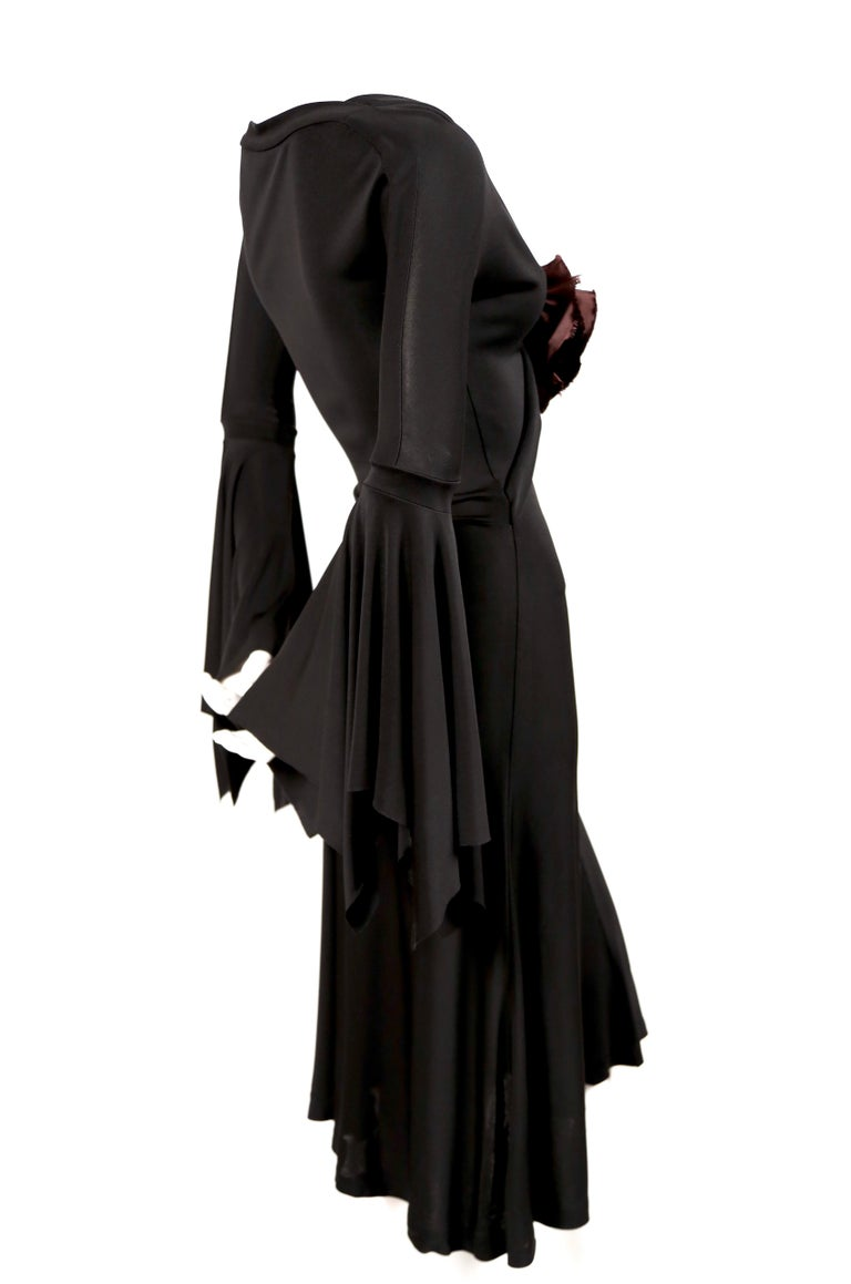 2003 TOM FORD for YVES SAINT LAURENT black runway dress with rose In Excellent Condition For Sale In San Fransisco, CA
