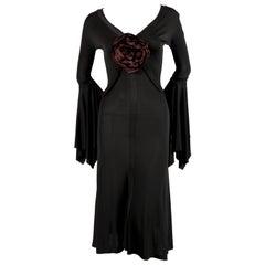 2003 TOM FORD for YVES SAINT LAURENT black runway dress with rose