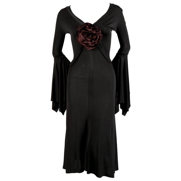 2003 TOM FORD for YVES SAINT LAURENT black runway dress with rose For Sale