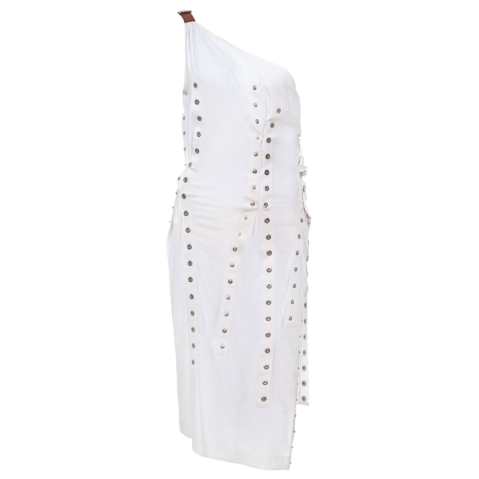2003 Vintage Dolce & Gabbana White One shoulder dress