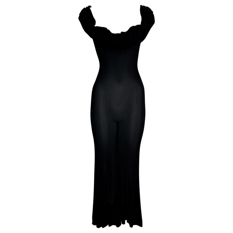 2003 Yves Saint Laurent Plunging Semi-Sheer Black Slinky Gown Dress For Sale