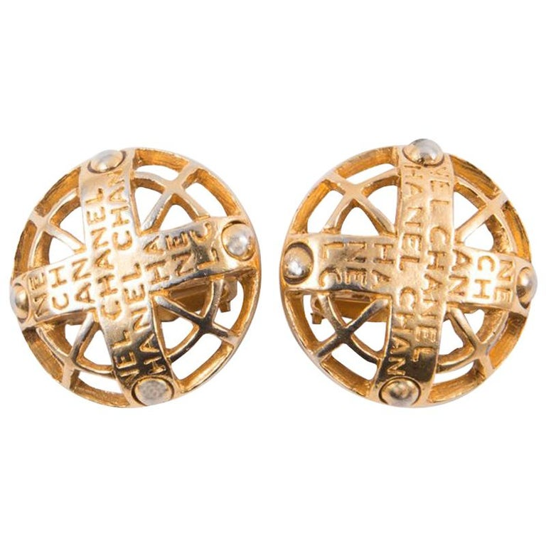 2003s Chanel Logo Gold Tone Clip On Earrings For Sale