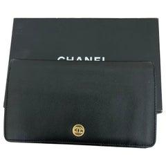 2004-5 Chanel Black Coco Button Bi-Fold Caviar Long Wallet w/Box