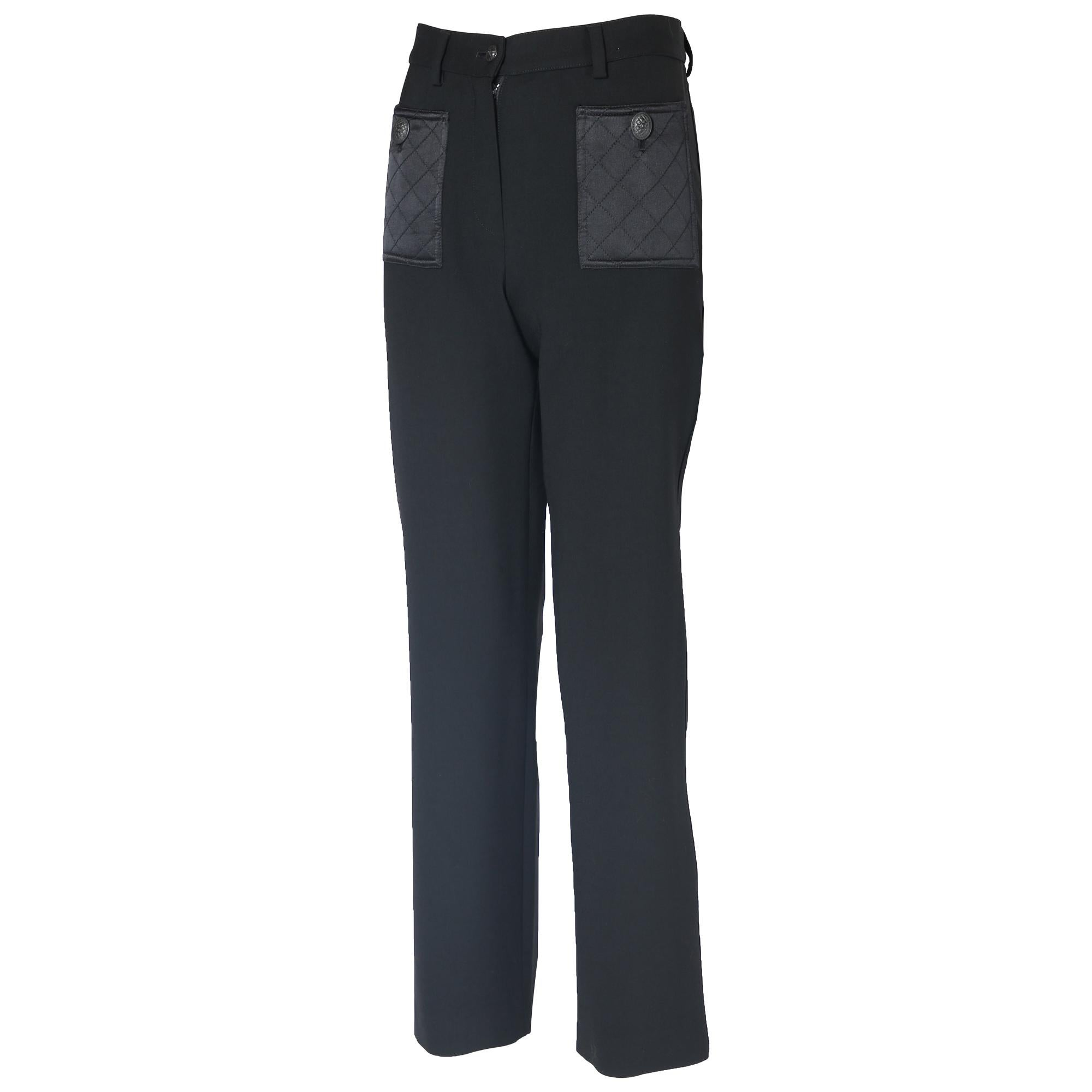 2004 A/H Chanel Black Wool Stretch Pants w/Quilted Satin Hip Pockets