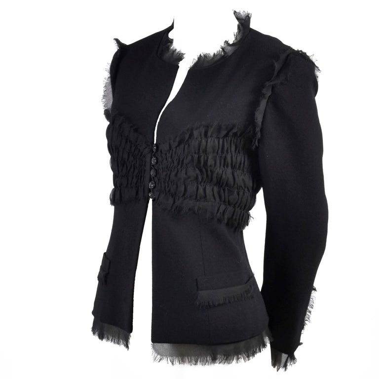 2004 Black Chanel Jacket Ruching With Fringe New With Tags 04 P Size 38