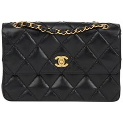 2004 Chanel Black Heavy Stitch Quilted Calfskin Leather Classic Single Flap Bag