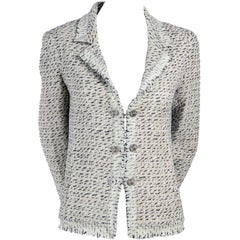 2004 Chanel Jacket in Lessage Fantasy Tweed Fringe & Rhinestone CC Logo Buttons