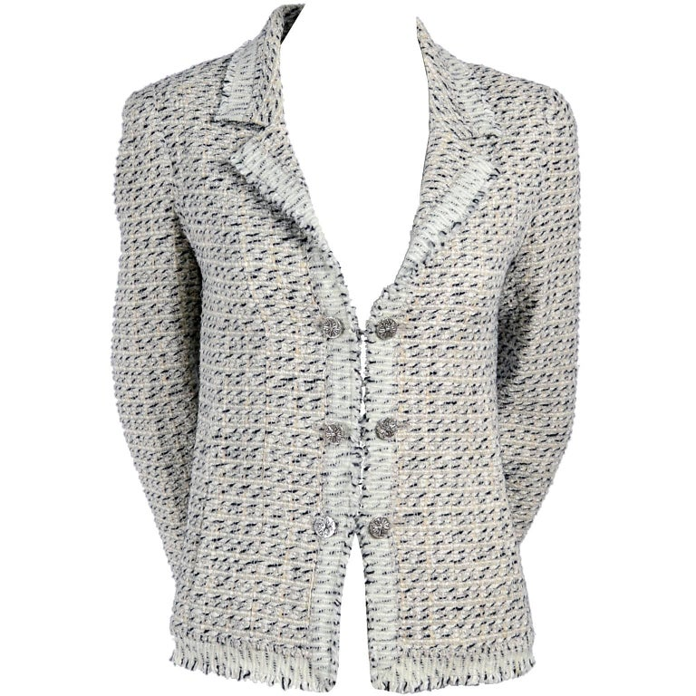 2004 Chanel Jacket in Lessage Fantasy Tweed Fringe & Rhinestone CC Logo Buttons For Sale