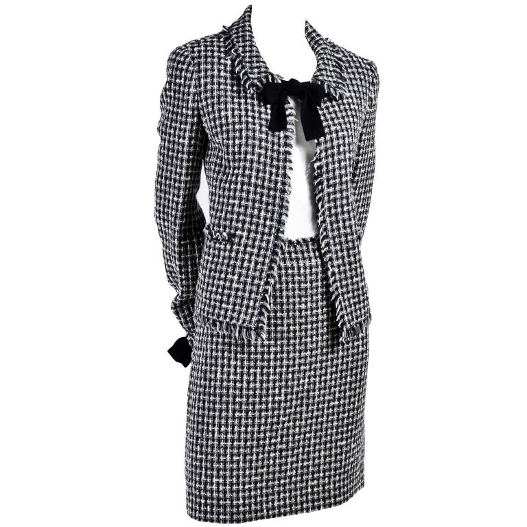 Chanel Black and White Lesage Tweed Suit with Bows and Fringe, 2004