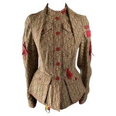 2004 Christian Dior Beige Cotton Monogram Rasta Bar Jacket