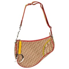 2004 Christian Dior Brown Monogram Canvas Rasta Saddle Bag