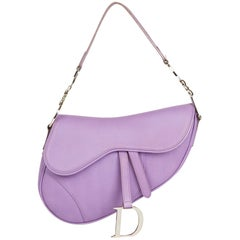 2004 Christian Dior Lilac Calfskin Leather Saddle Bag