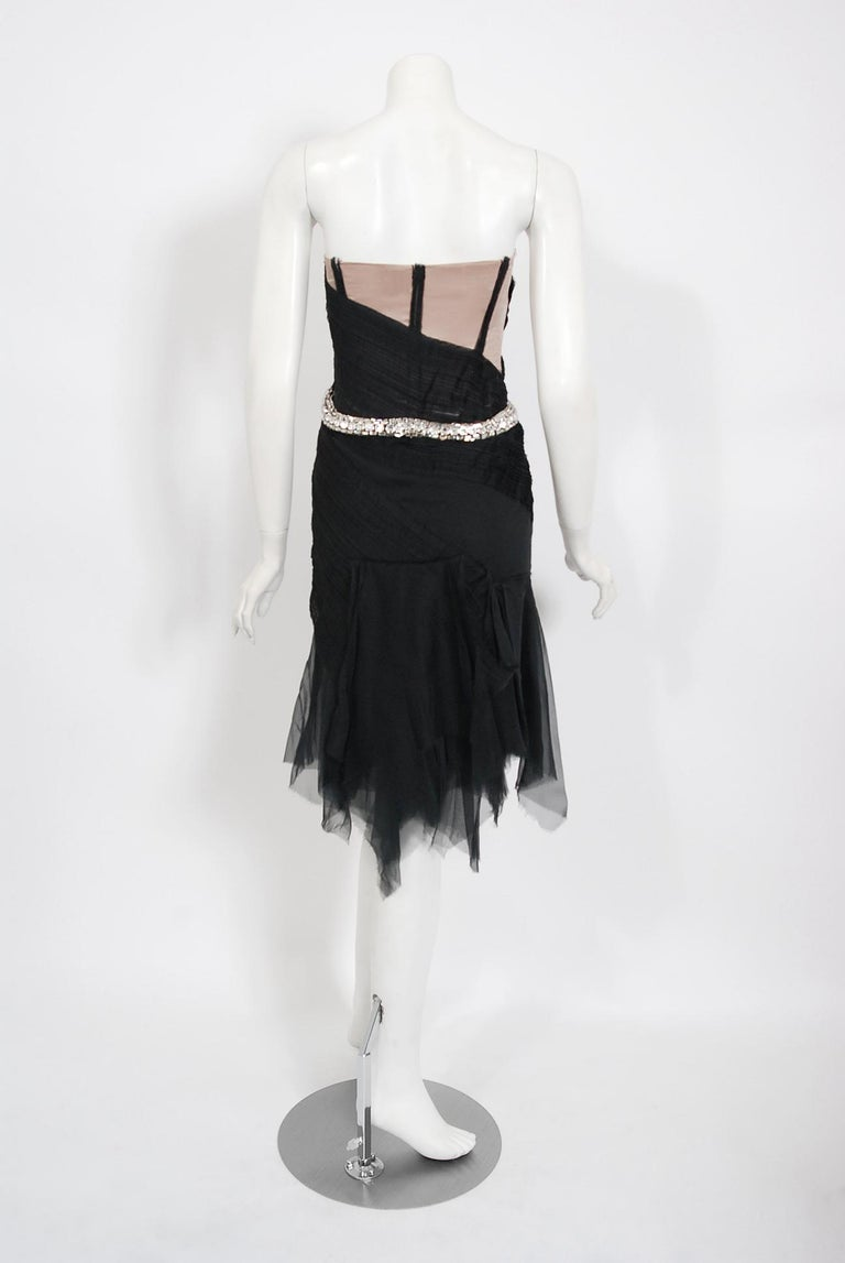 2004 Gucci by Tom Ford Runway Black Silk Crystal-Snake Strapless Finale Dress For Sale 6