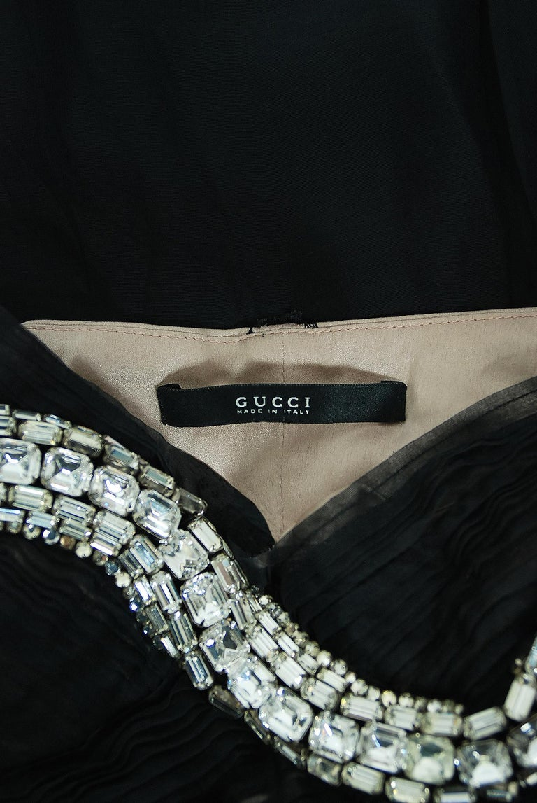 2004 Gucci by Tom Ford Runway Black Silk Crystal-Snake Strapless Finale Dress For Sale 7