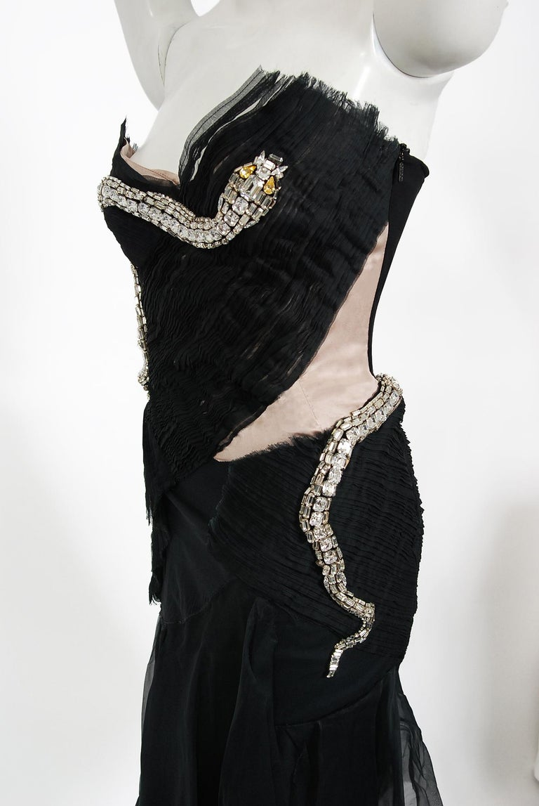 2004 Gucci by Tom Ford Runway Black Silk Crystal-Snake Strapless Finale Dress For Sale 4